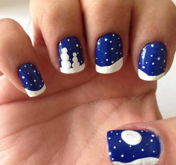 unhas azul natalinas