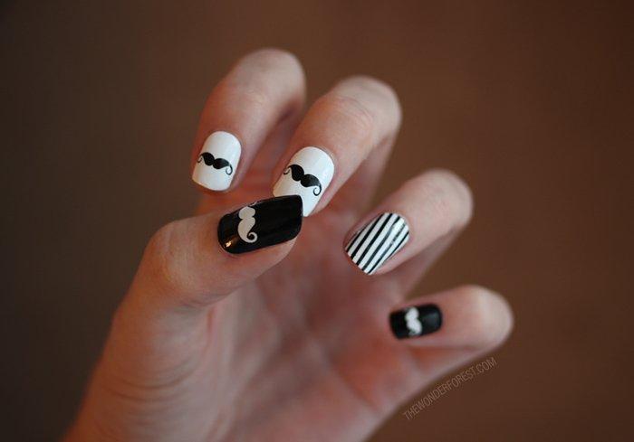 unhas com bigodinho decoradas