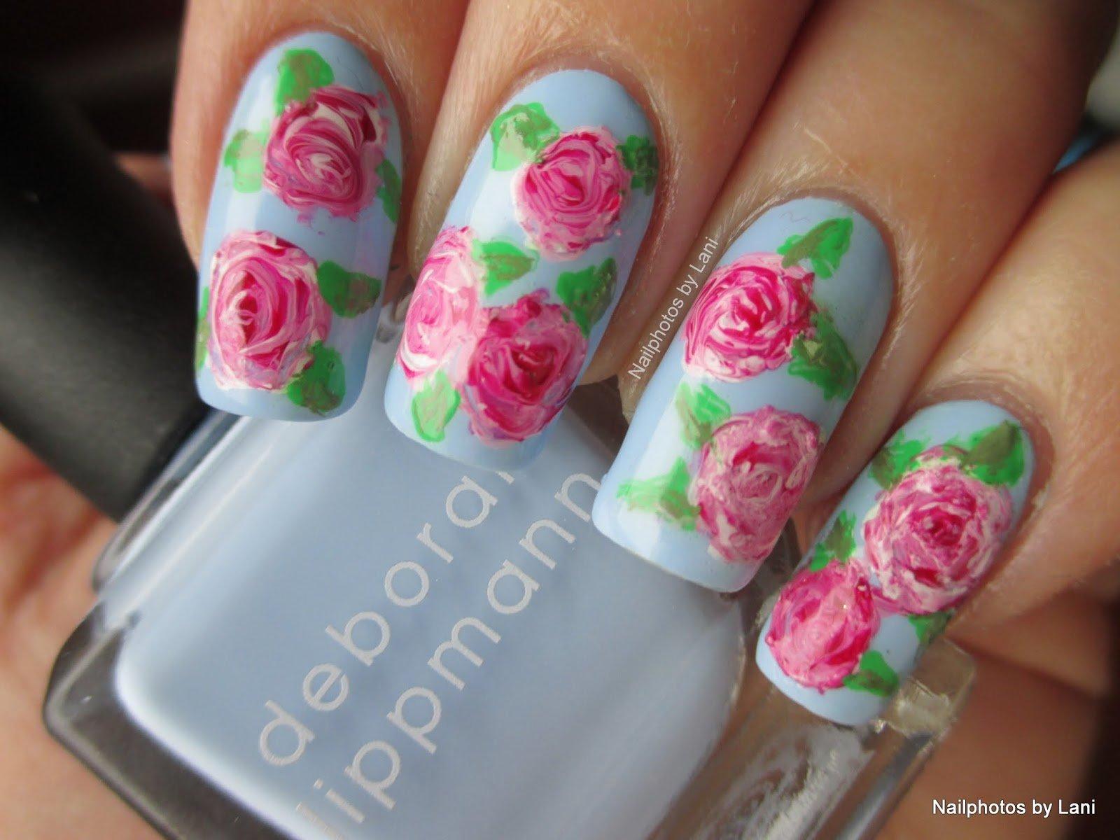 unhas com rosas