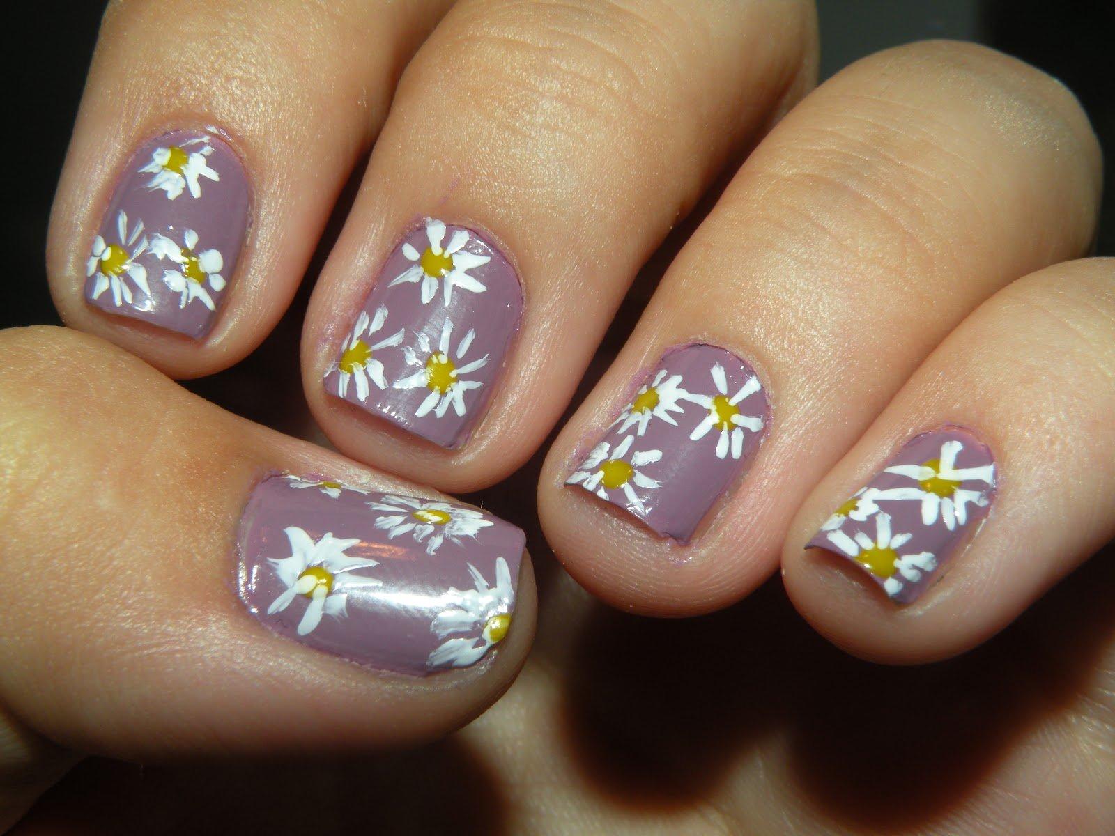 unhas de flores decoradas
