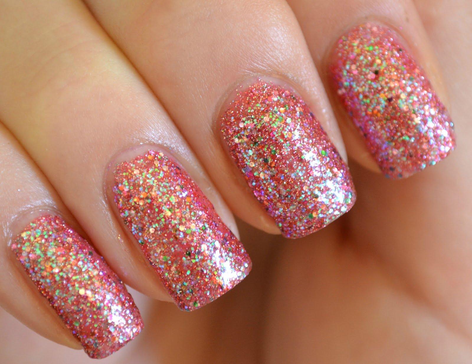 unhas de glitter decoradas