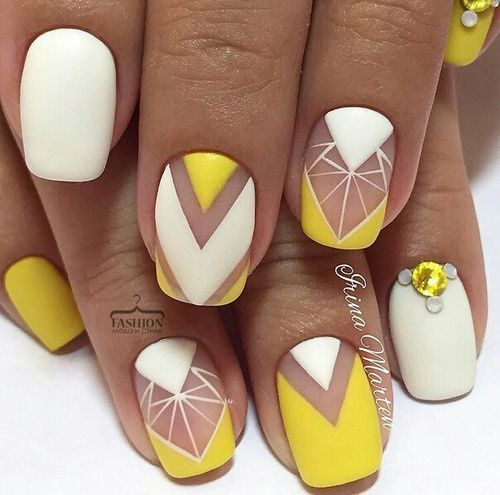 unhas decoradas amarelas geometricas