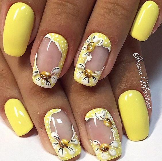 unhas decoradas amarelas