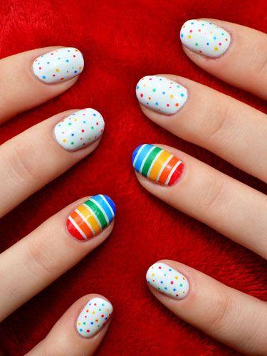 unhas decoradas arco iris 1