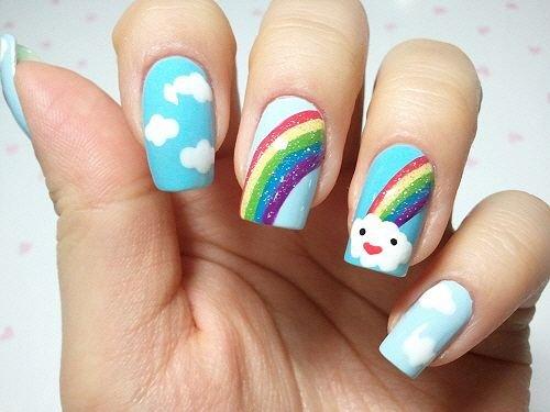 unhas decoradas arco iris 6