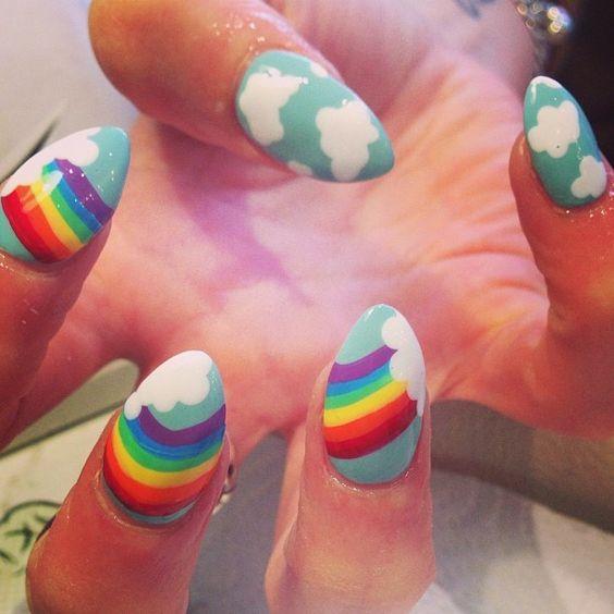 unhas decoradas arco iris 7