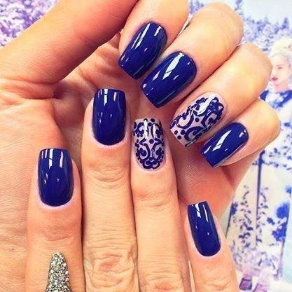 unhas decoradas azulejo portugues azul