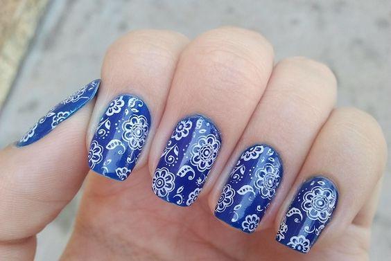 unhas decoradas azulejo portugues flores