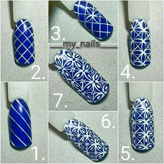 unhas decoradas azulejo portugues passo passo