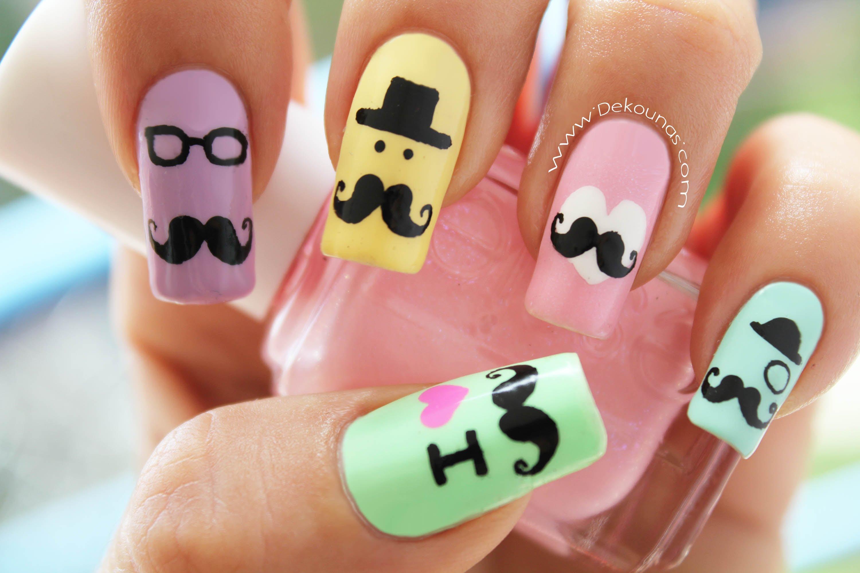 unhas decoradas com bigodinho