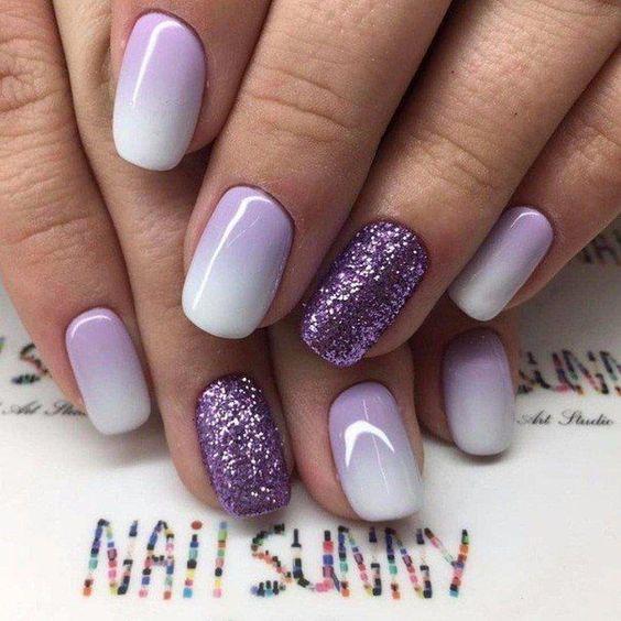 unhas decoradas formatura lilas
