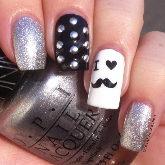 unhas decoradas love mustache