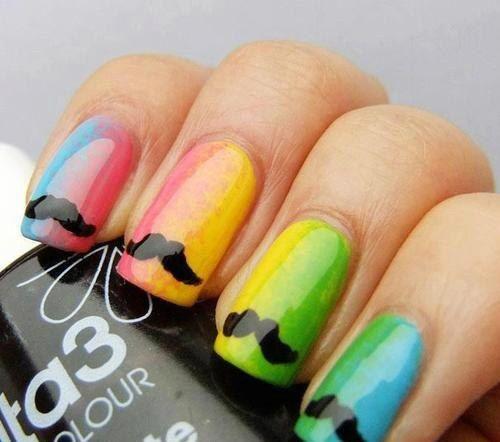 unhas decoradas mustache coloridas