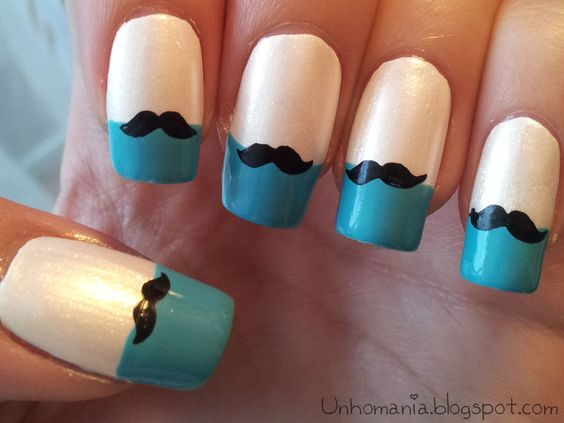 unhas decoradas mustache francesinha