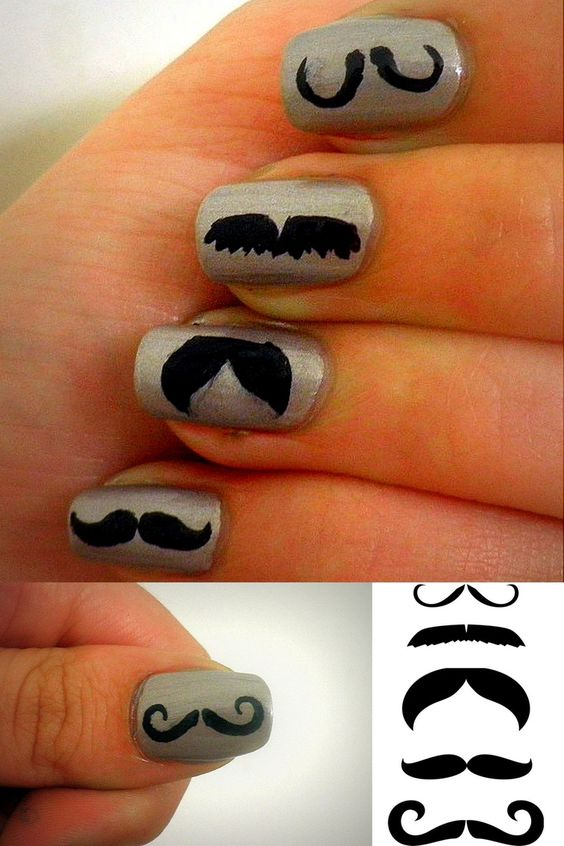 unhas decoradas mustache passo passo 1
