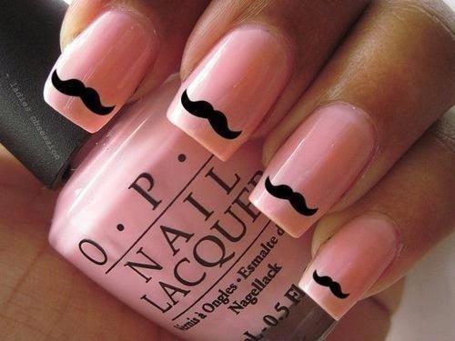 unhas decoradas mustache rosa