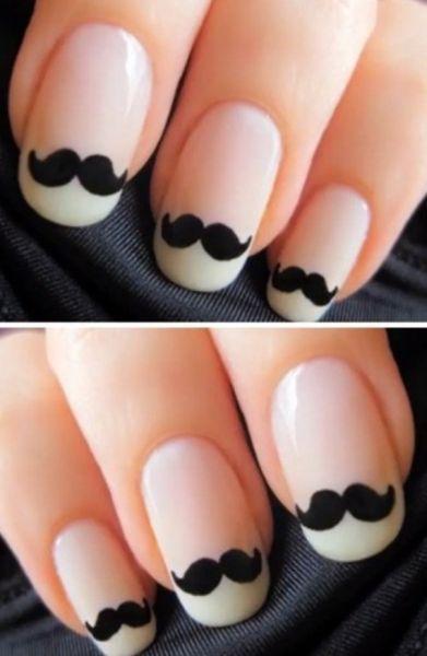 unhas decoradas mustache