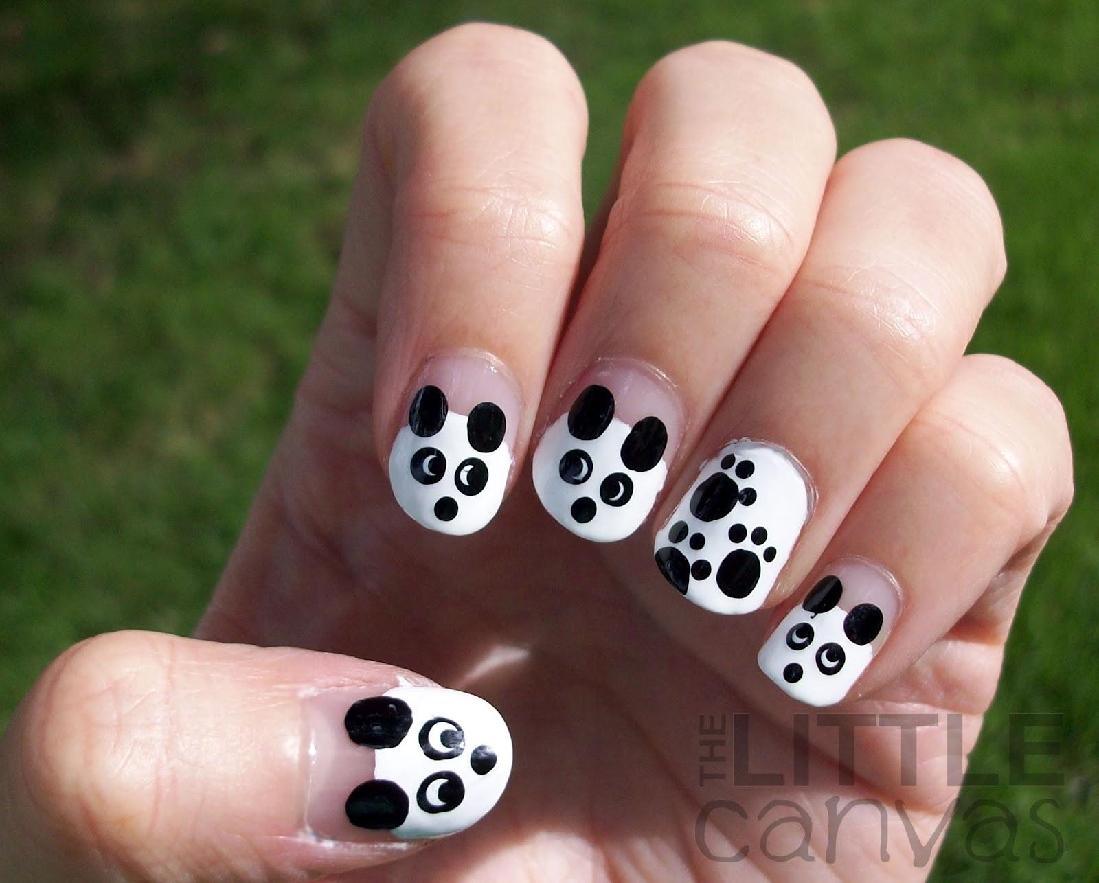 unhas decoradas panda