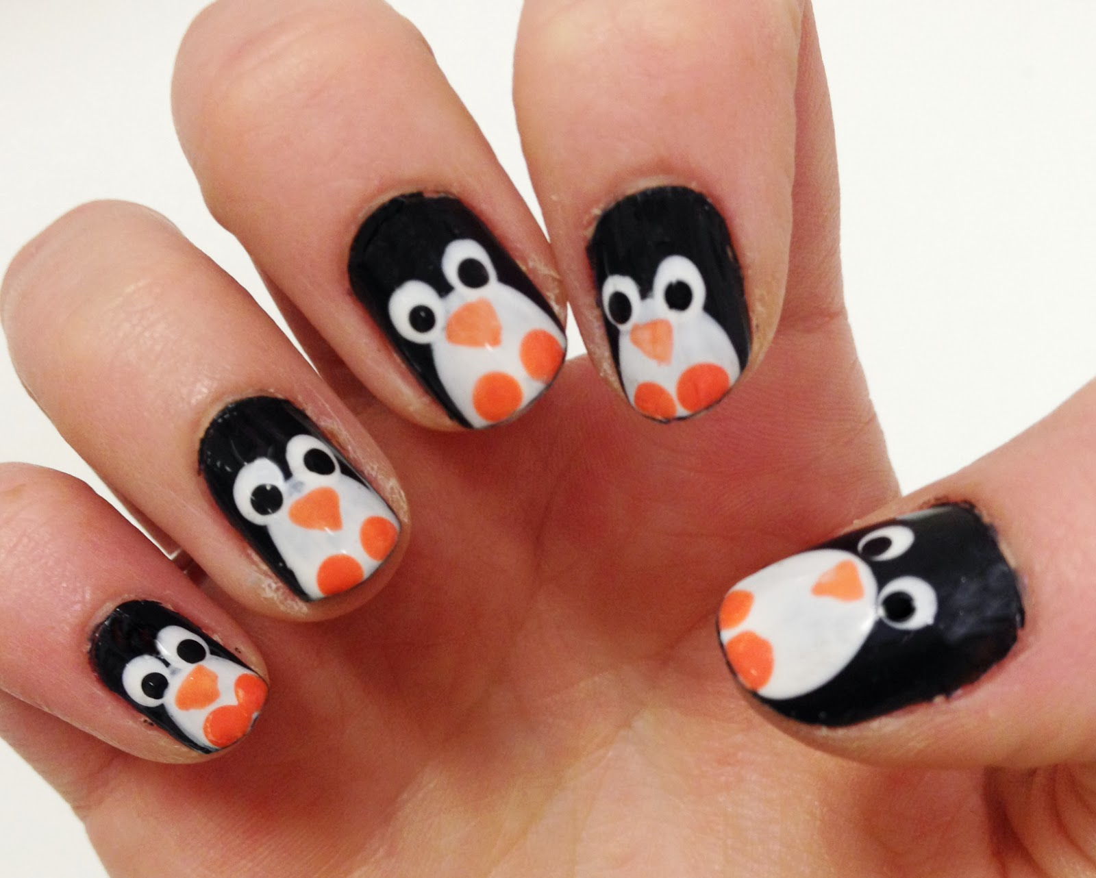unhas decoradas penguim