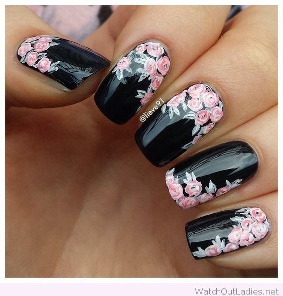 unhas decoradas preto flores