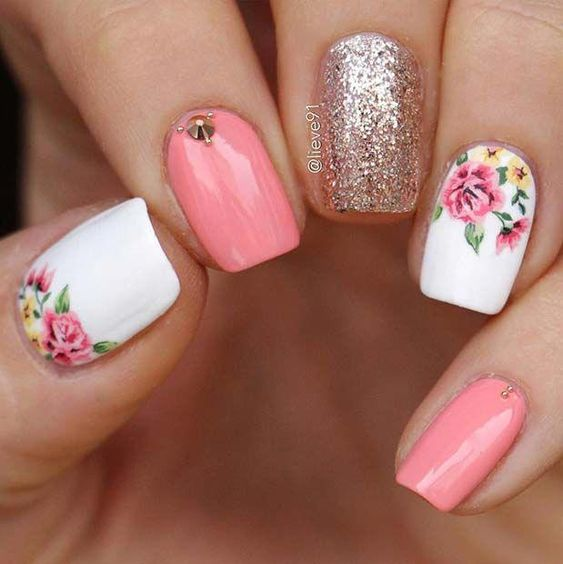 unhas decoradas rosas 3