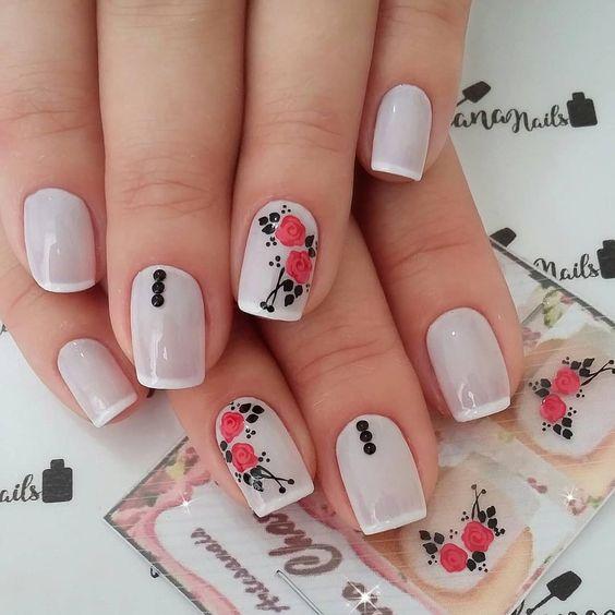 unhas decoradas rosas branca adesivo