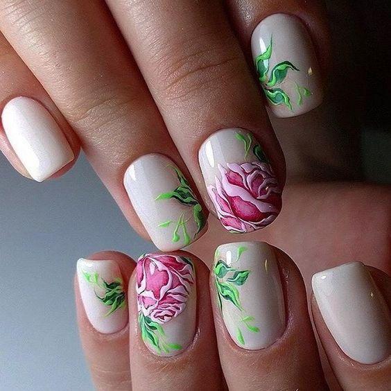unhas decoradas rosas desenhada 3d