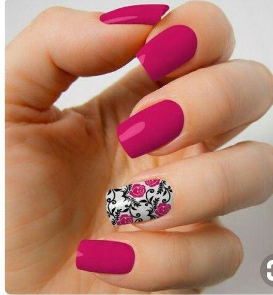 unhas decoradas rosas pink filha unica