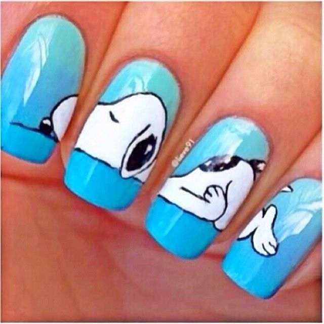 unhas-decoradas-snoppy