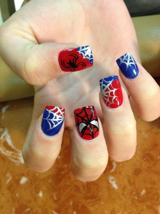 unhas decoradas spider man 1