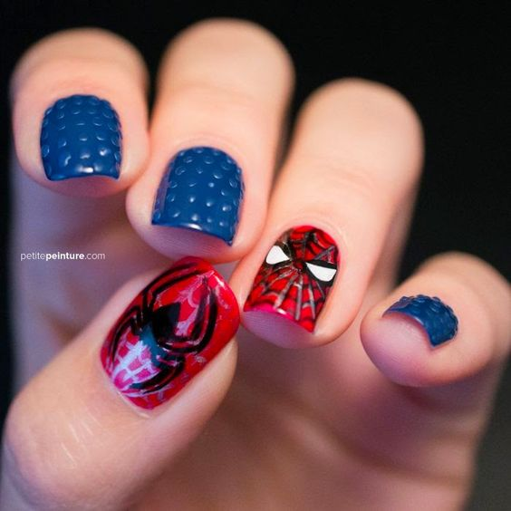 unhas decoradas spider man 2