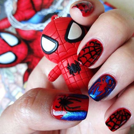 unhas decoradas spider man