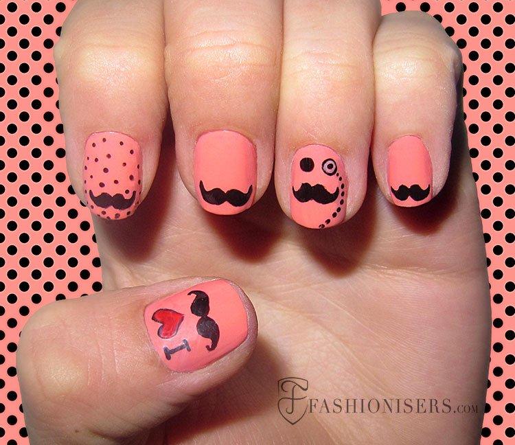 unhas em rosa com bigodinho