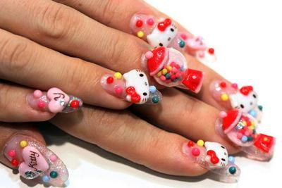 unhas japonesas 3d hello kitty