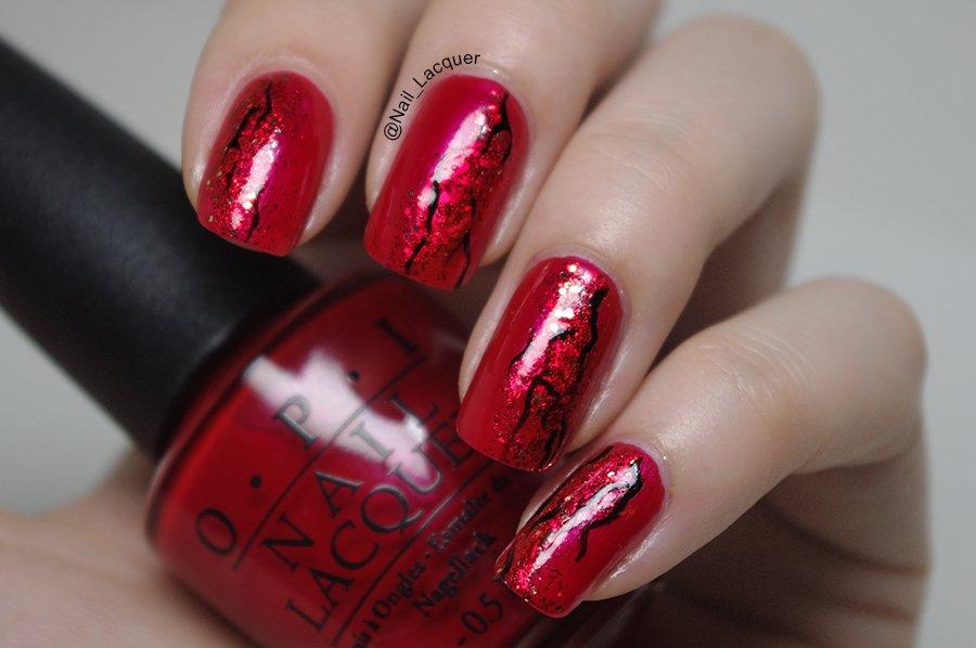 unhas vermelhas decoradas