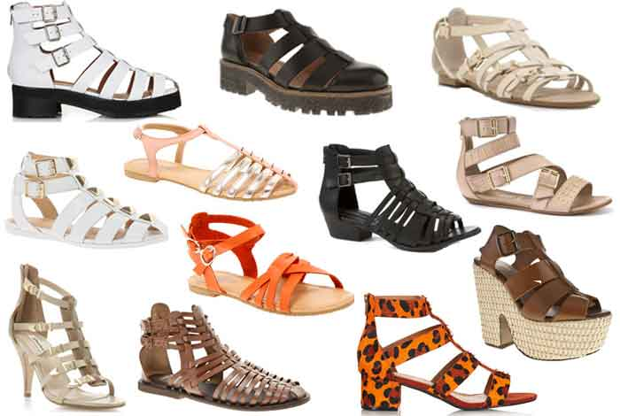 varios modelos de sandalias gladiadoras