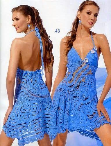vestido azul croche