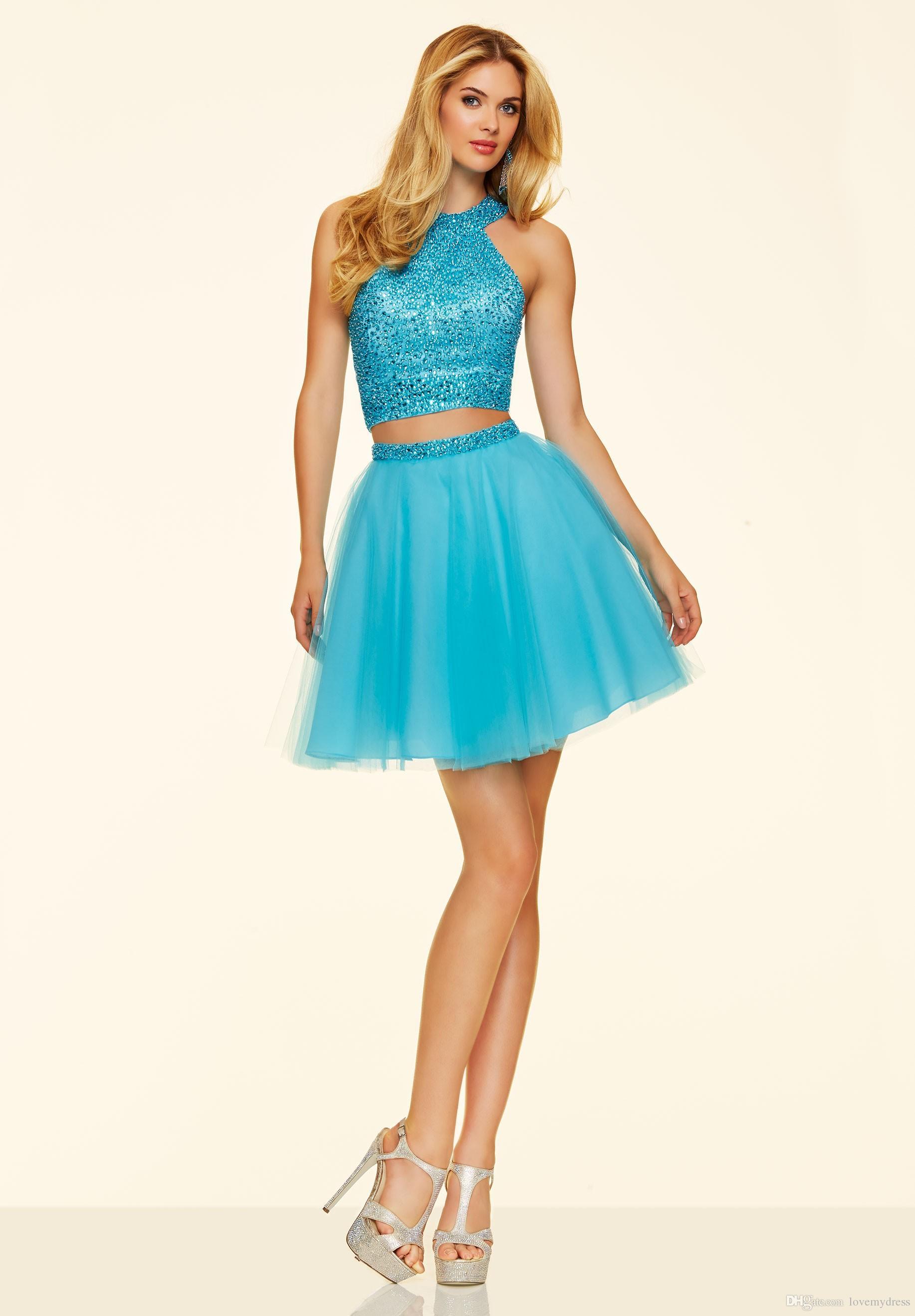 vestido azul curto para formatura