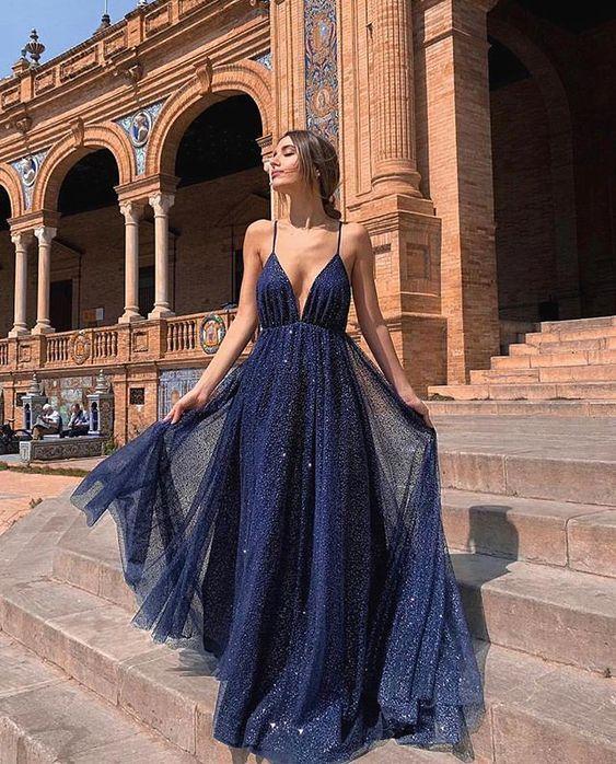 vestido azul formal