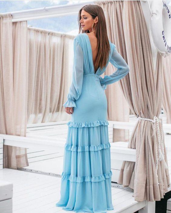 vestido azul manga