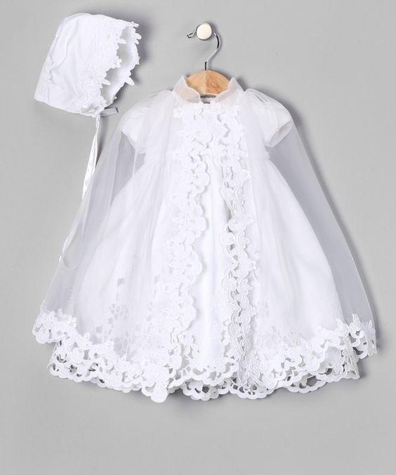 vestido batizado touca