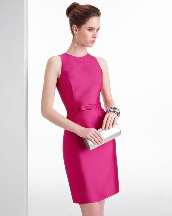 vestido cetim rosa choque