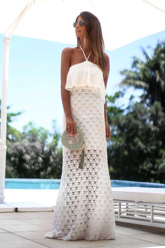 vestido croche longo branco
