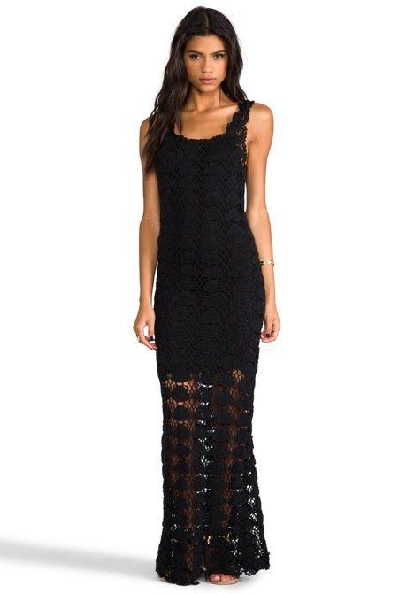 vestido croche longo preto