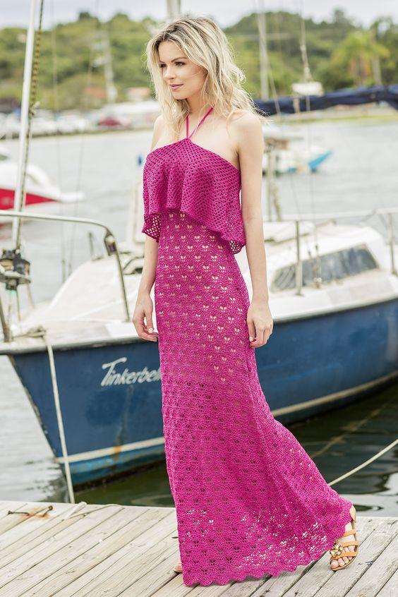 vestido croche longo rosa