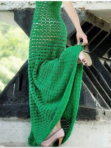 vestido croche longo verde 1