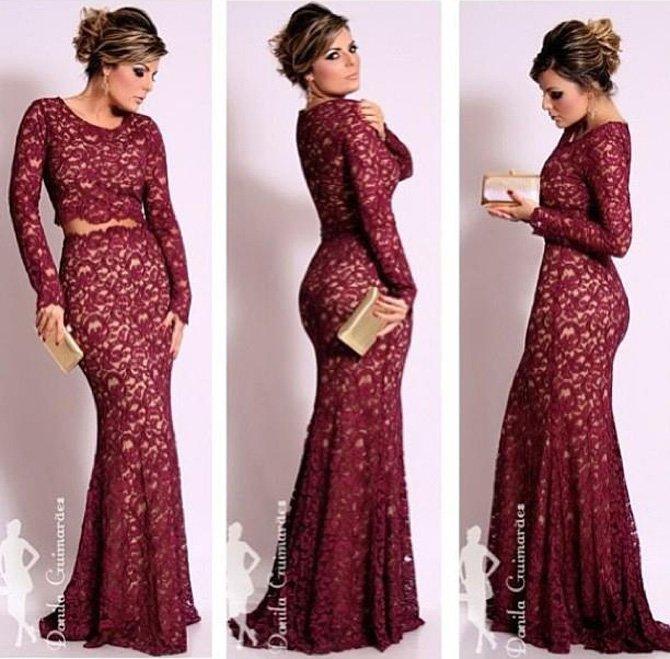 vestido de renda bordeaux