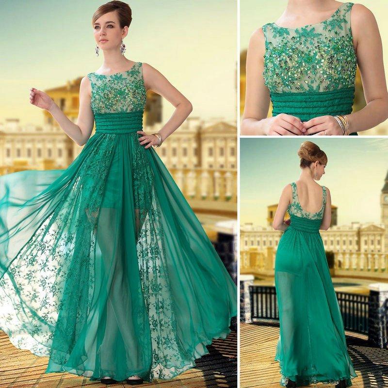 vestido de renda verde