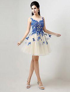 vestido debutante curto azul