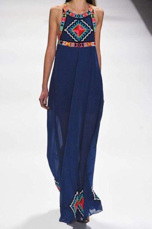 vestido longo verao azul
